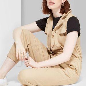 Women's Sleeveless V-Neck Button Jumpsuit